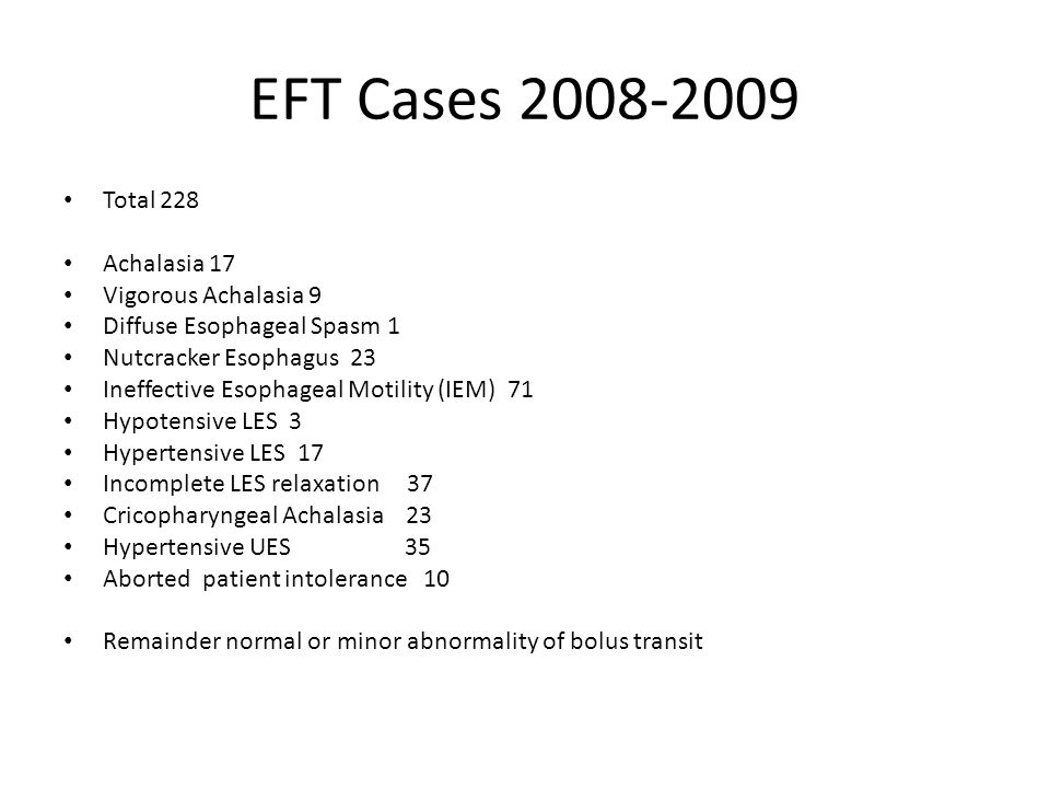EFT Cases Total 228 Achalasia 17 Vigorous Achalasia 9 Diffuse Esophageal Spasm 1 Nutcracker Esophagus 23 Ineffective Esophageal Motility (IEM) 71 Hypotensive LES 3 Hypertensive LES 17 Incomplete LES relaxation 37 Cricopharyngeal Achalasia 23 Hypertensive UES 35 Aborted patient intolerance 10 Remainder normal or minor abnormality of bolus transit