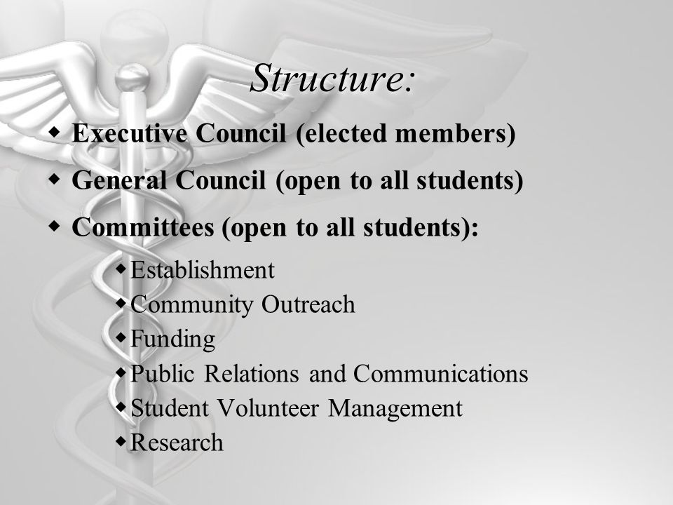 Student Involvement Come out to the next General Council Meeting Thursday, October 4 at 5 PM Discuss the clinic and ask questions Become a Program Representative Join a Committee