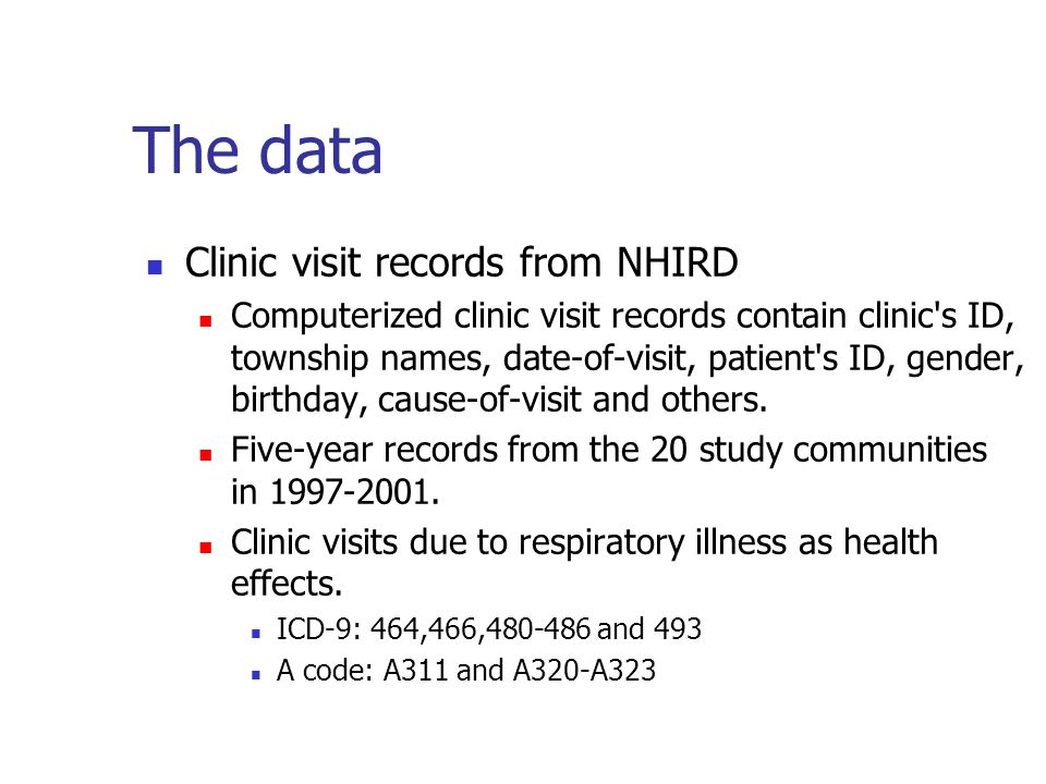 The data Clinic visit records from NHIRD Computerized clinic visit records contain clinic s ID, township names, date-of-visit, patient s ID, gender, birthday, cause-of-visit and others.