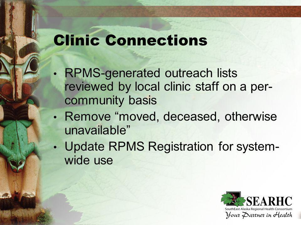 Clinic Connections RPMS-generated outreach lists reviewed by local clinic staff on a per- community basis Remove moved, deceased, otherwise unavailable Update RPMS Registration for system- wide use RPMS-generated outreach lists reviewed by local clinic staff on a per- community basis Remove moved, deceased, otherwise unavailable Update RPMS Registration for system- wide use