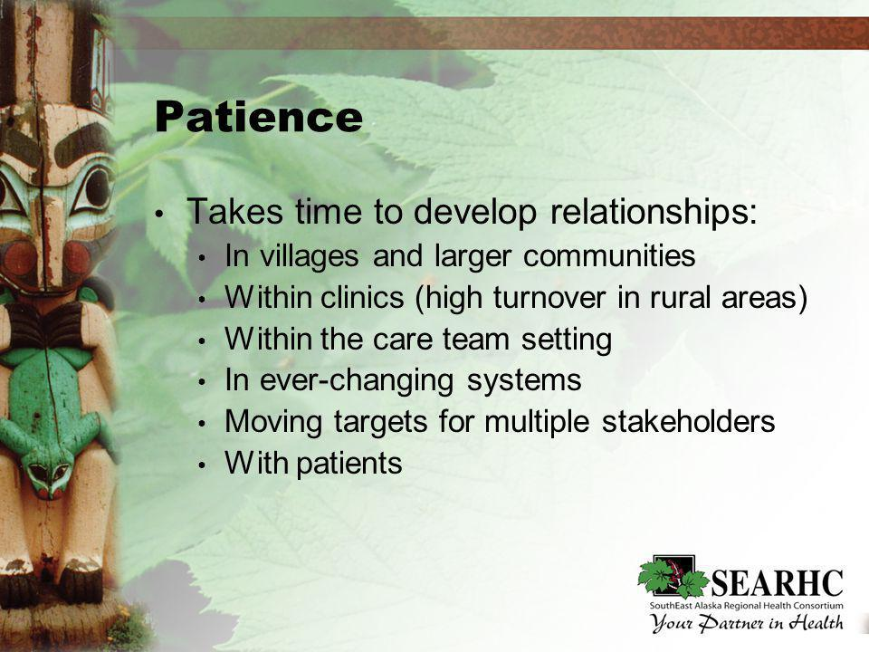 Patience Takes time to develop relationships: In villages and larger communities Within clinics (high turnover in rural areas) Within the care team setting In ever-changing systems Moving targets for multiple stakeholders With patients Takes time to develop relationships: In villages and larger communities Within clinics (high turnover in rural areas) Within the care team setting In ever-changing systems Moving targets for multiple stakeholders With patients