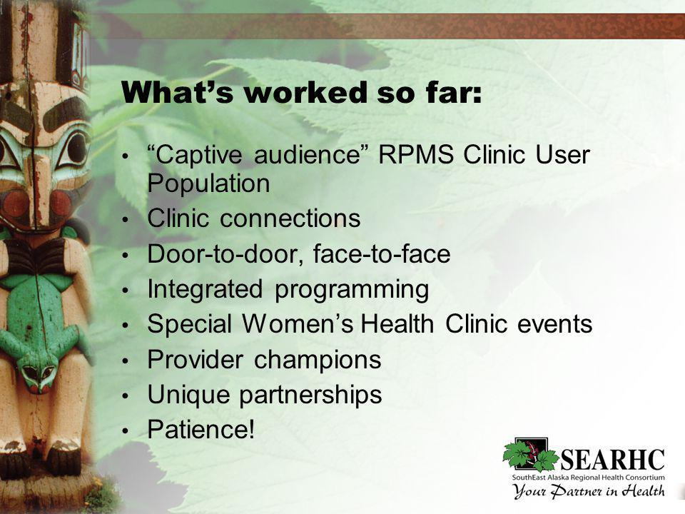 Whats worked so far: Captive audience RPMS Clinic User Population Clinic connections Door-to-door, face-to-face Integrated programming Special Womens Health Clinic events Provider champions Unique partnerships Patience.