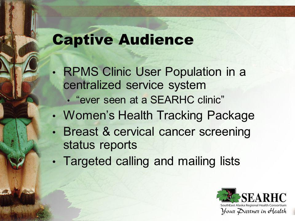 Captive Audience RPMS Clinic User Population in a centralized service system ever seen at a SEARHC clinic Womens Health Tracking Package Breast & cervical cancer screening status reports Targeted calling and mailing lists RPMS Clinic User Population in a centralized service system ever seen at a SEARHC clinic Womens Health Tracking Package Breast & cervical cancer screening status reports Targeted calling and mailing lists