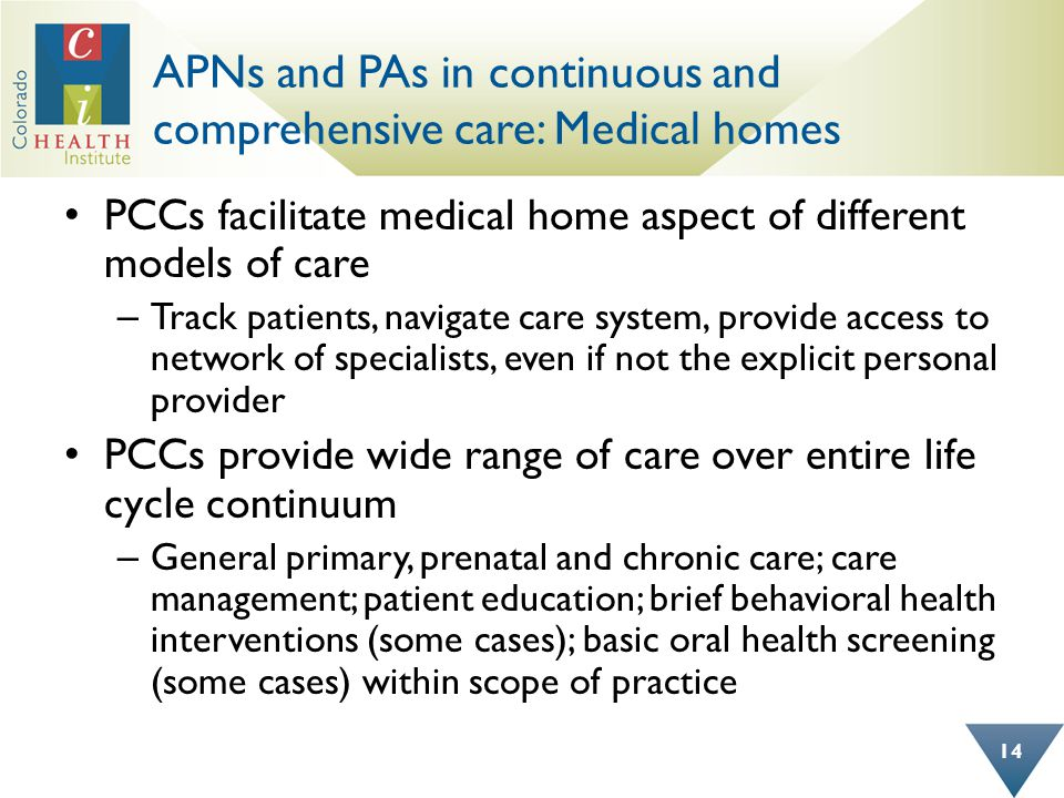 APNs and PAs in continuous and comprehensive care: Medical homes 14 PCCs facilitate medical home aspect of different models of care – Track patients, navigate care system, provide access to network of specialists, even if not the explicit personal provider PCCs provide wide range of care over entire life cycle continuum – General primary, prenatal and chronic care; care management; patient education; brief behavioral health interventions (some cases); basic oral health screening (some cases) within scope of practice