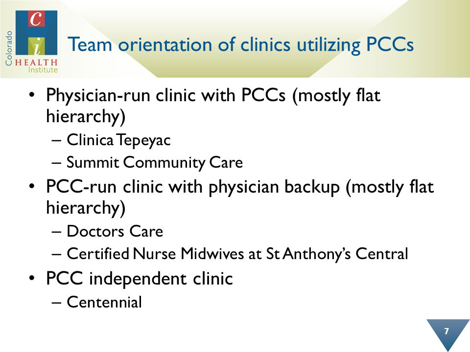 Team orientation of clinics utilizing PCCs Physician-run clinic with PCCs (mostly flat hierarchy) – Clinica Tepeyac – Summit Community Care PCC-run clinic with physician backup (mostly flat hierarchy) – Doctors Care – Certified Nurse Midwives at St Anthonys Central PCC independent clinic – Centennial 7