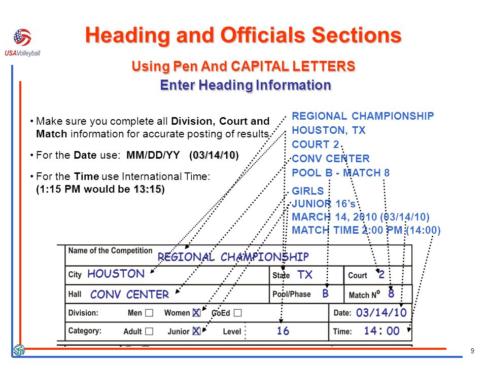 9 REGIONAL CHAMPIONSHIP HOUSTON, TX COURT 2 CONV CENTER POOL B - MATCH 8 GIRLS JUNIOR 16s MARCH 14, 2010 (03/14/10) MATCH TIME 2:00 PM (14:00) REGIONA