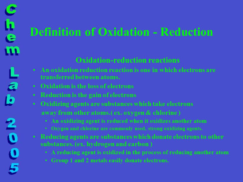 Definition of Oxidation - Reduction Oxidation-reduction reactions An oxidation reduction reaction is one in which electrons are transferred between atoms.