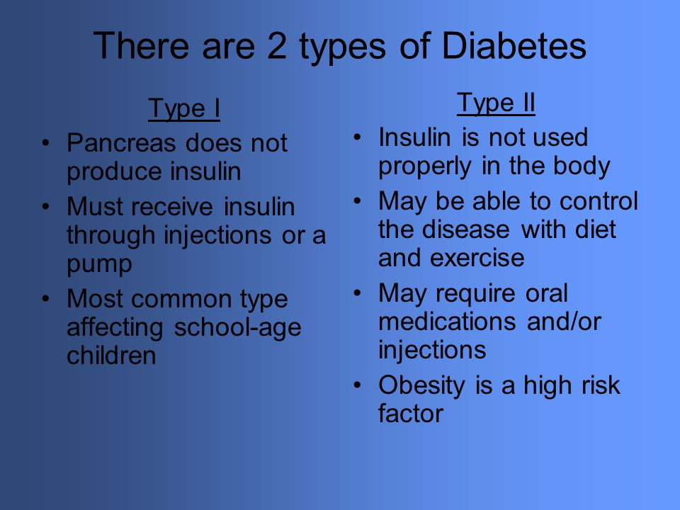 There are 2 types of Diabetes Type I Pancreas does not produce insulin Must receive insulin through injections or a pump Most common type affecting sc