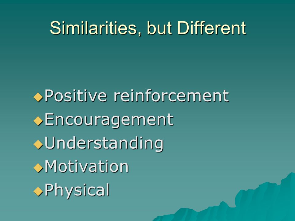 Similarities, but Different Positive reinforcement Positive reinforcement Encouragement Encouragement Understanding Understanding Motivation Motivatio