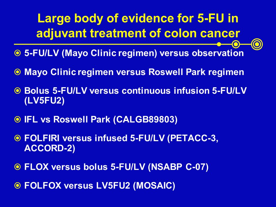 Large body of evidence for 5-FU in adjuvant treatment of colon cancer 5-FU/LV (Mayo Clinic regimen) versus observation Mayo Clinic regimen versus Rosw