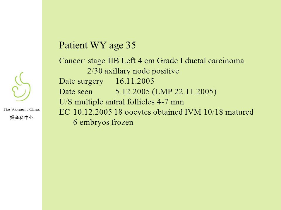 The Women s Clinic Patient WY age 35 Cancer: stage IIB Left 4 cm Grade I ductal carcinoma 2/30 axillary node positive Date surgery16.11.2005 Date seen