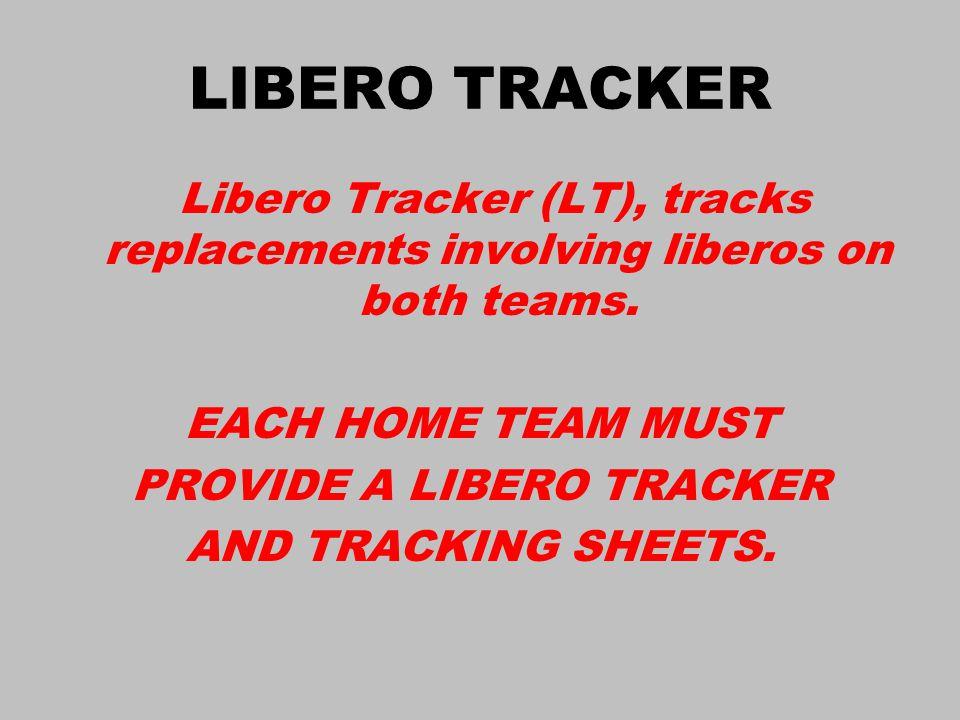 LIBERO TRACKER Libero Tracker (LT), tracks replacements involving liberos on both teams.