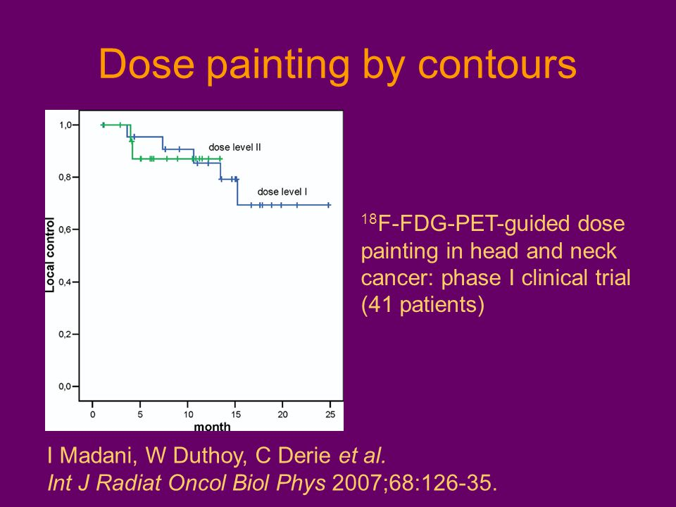Dose painting by contours 18 F-FDG-PET-guided dose painting in head and neck cancer: phase I clinical trial (41 patients) I Madani, W Duthoy, C Derie