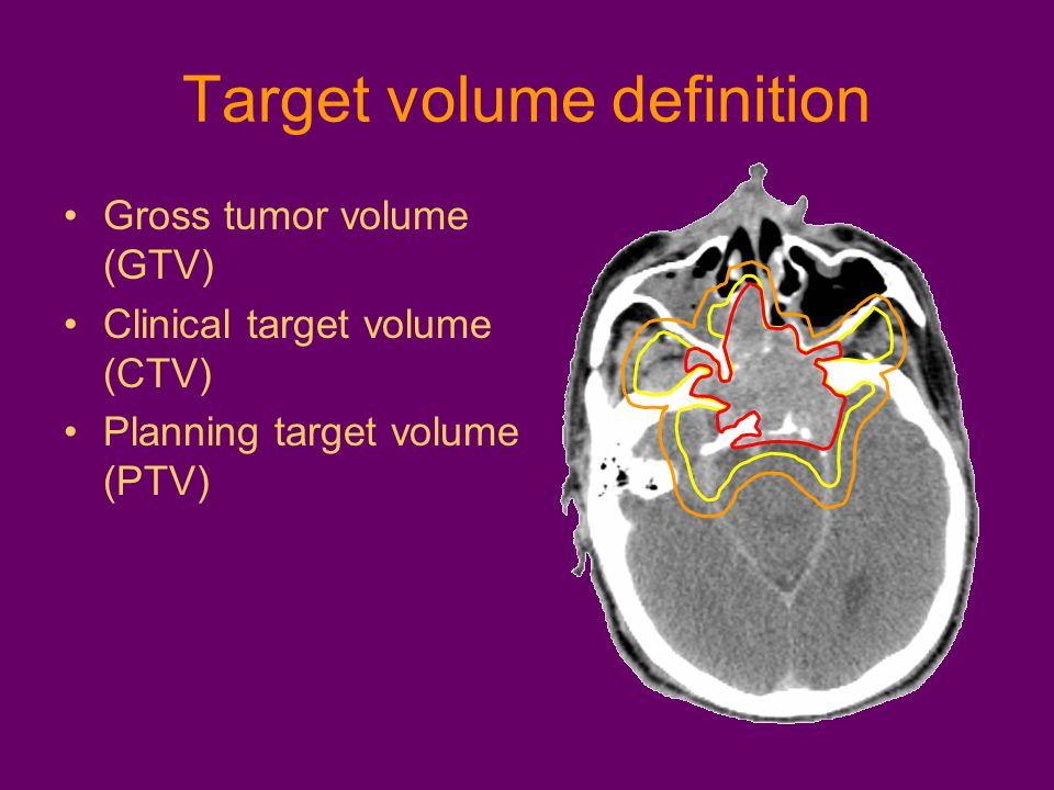Target volume definition Gross tumor volume (GTV) Clinical target volume (CTV) Planning target volume (PTV)
