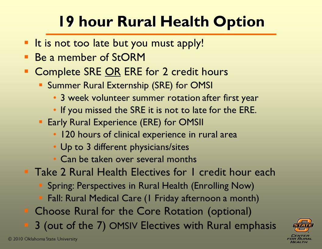 © 2010 Oklahoma State University 2010-2011 Community Clinic Rotation Sites