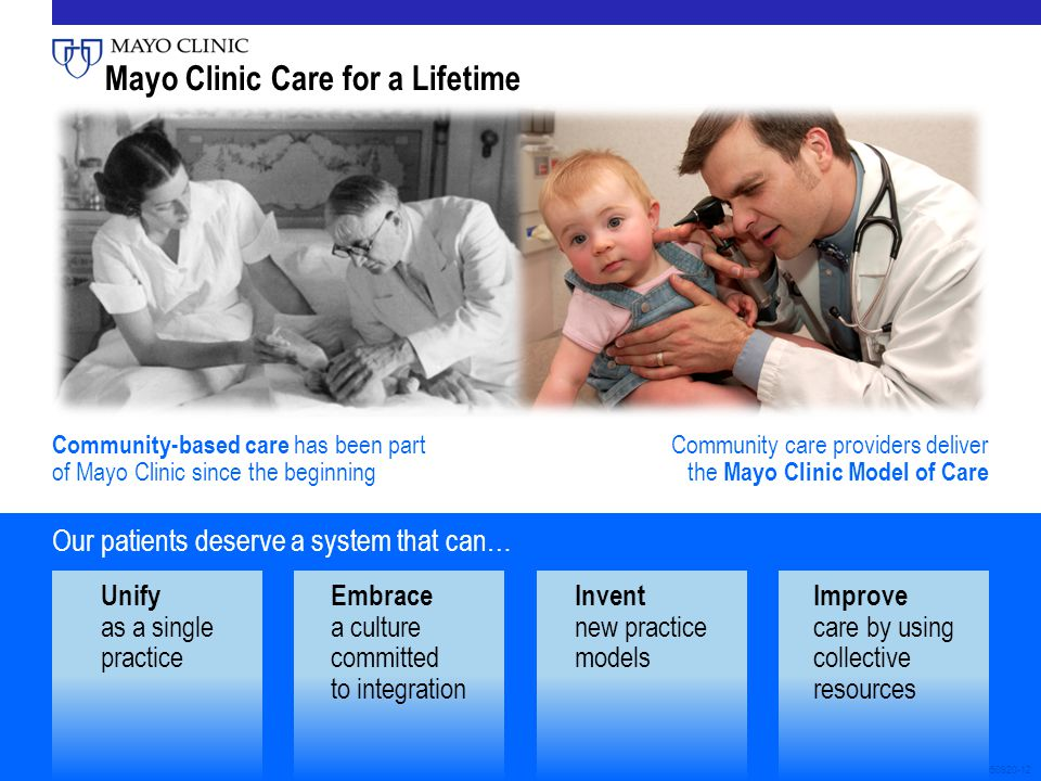 3050920-12 Unify as a single practice Embrace a culture committed to integration Invent new practice models Improve care by using collective resources Our patients deserve a system that can… Community-based care has been part of Mayo Clinic since the beginning Community care providers deliver the Mayo Clinic Model of Care Mayo Clinic Care for a Lifetime