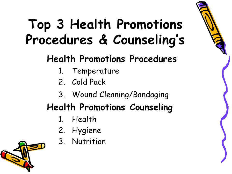 Top 3 Health Promotions Procedures & Counselings Health Promotions Procedures 1.Temperature 2.Cold Pack 3.Wound Cleaning/Bandaging Health Promotions Counseling 1.Health 2.Hygiene 3.Nutrition