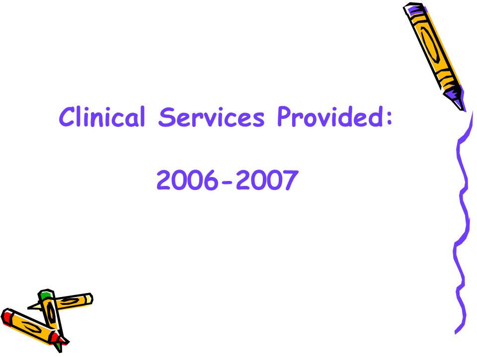 Clinic Events 205,384 in 2006-2007 122,319 in 2005-2006 74,910 in 2004-2005 53,862 in 2003-2004 18,951 in 2002-2003 5,351 in 2001-2002 Over 200,000 increase from 2001-2007