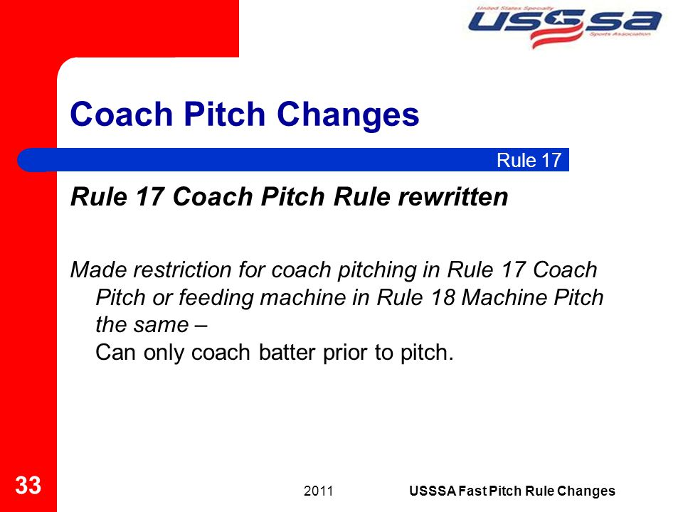 Coach Pitch Changes Rule 17 Coach Pitch Rule rewritten Made restriction for coach pitching in Rule 17 Coach Pitch or feeding machine in Rule 18 Machin