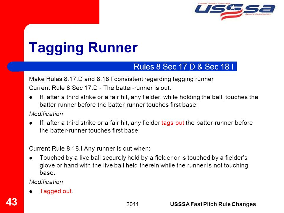 Tagging Runner Make Rules 8.17.D and 8.18.I consistent regarding tagging runner Current Rule 8 Sec 17.D - The batter-runner is out: If, after a third