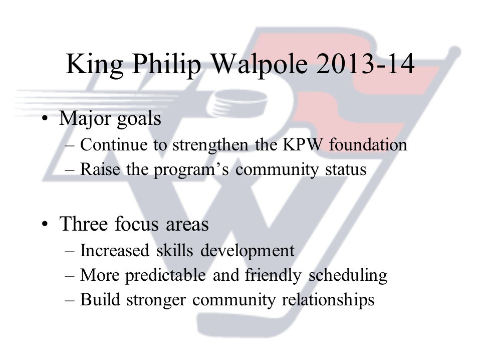 King Philip Walpole 2013-14 Major goals –Continue to strengthen the KPW foundation –Raise the programs community status Three focus areas –Increased s