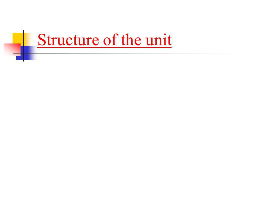 Structure of the unit