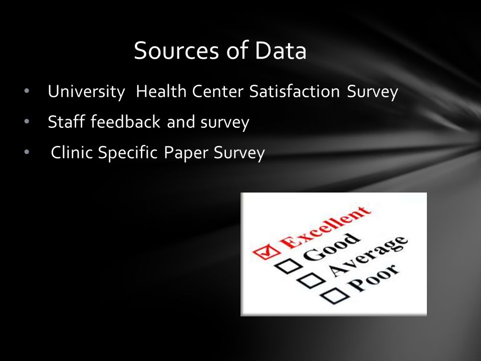 University Health Center Satisfaction Survey Staff feedback and survey Clinic Specific Paper Survey Sources of Data