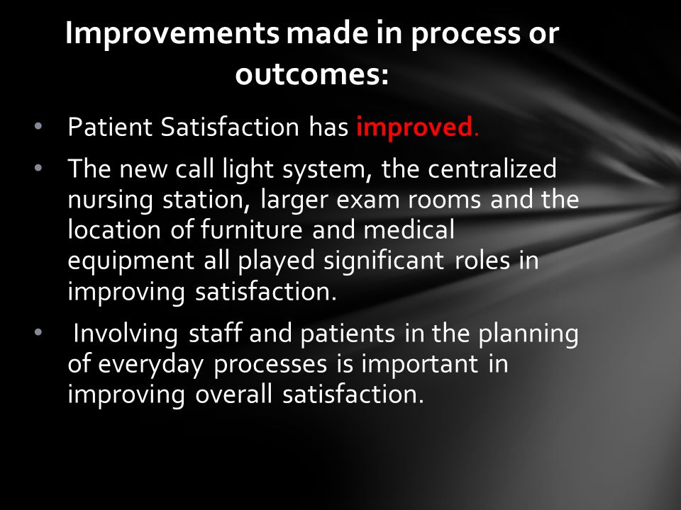 Patient Satisfaction has improved.
