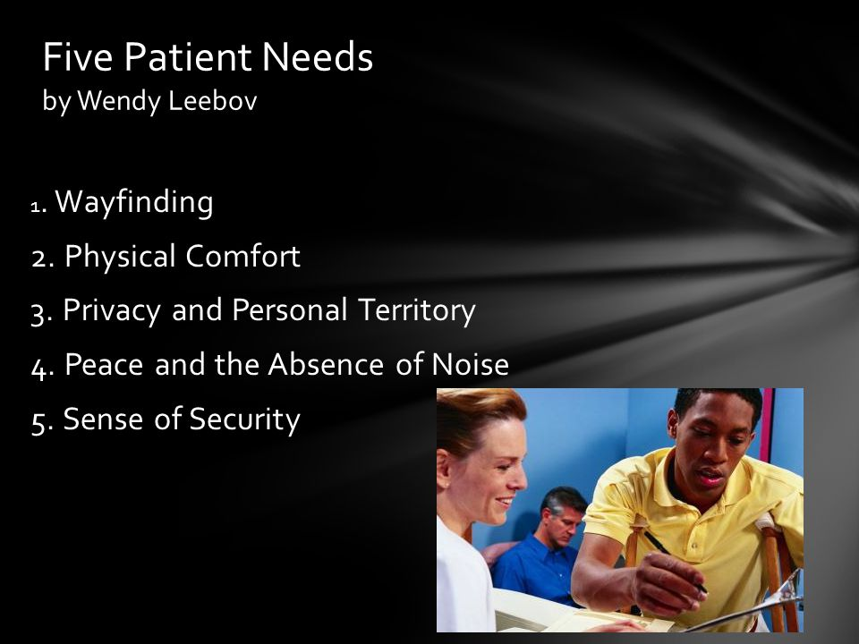1. Wayfinding 2. Physical Comfort 3. Privacy and Personal Territory 4. Peace and the Absence of Noise 5. Sense of Security Five Patient Needs by Wendy