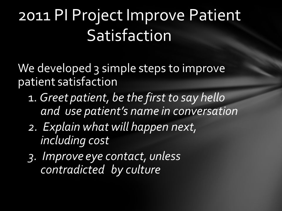 1.To improve patients perception of care.