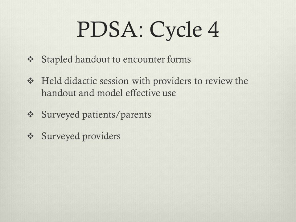 PDSA: Cycle 4 Stapled handout to encounter forms Held didactic session with providers to review the handout and model effective use Surveyed patients/parents Surveyed providers