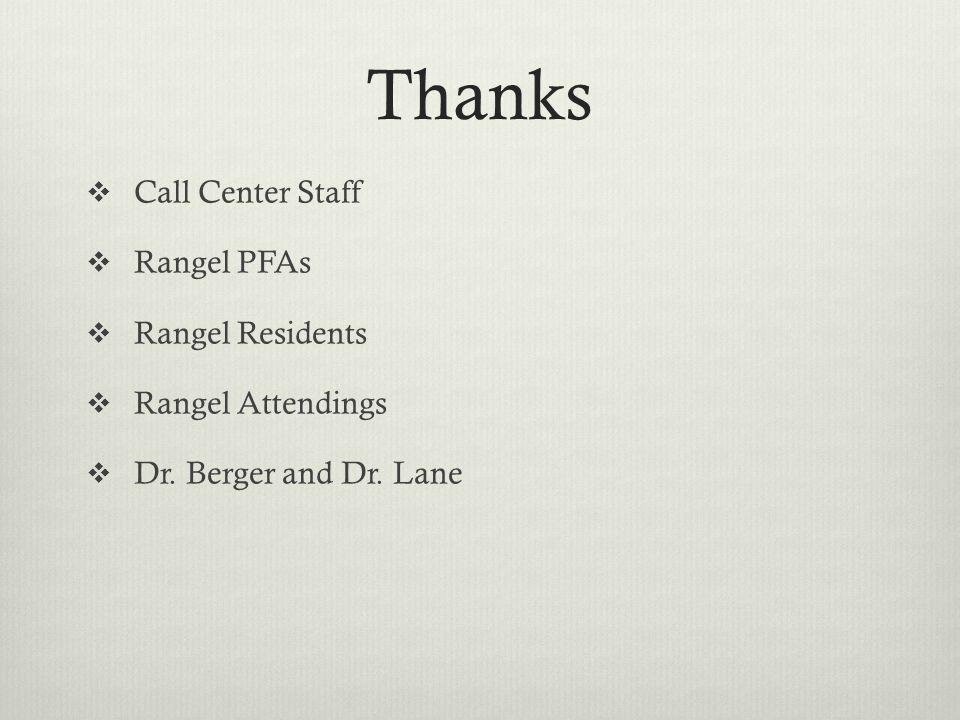 Thanks Call Center Staff Rangel PFAs Rangel Residents Rangel Attendings Dr. Berger and Dr. Lane
