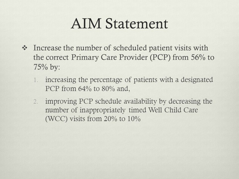 AIM Statement Increase the number of scheduled patient visits with the correct Primary Care Provider (PCP) from 56% to 75% by: 1.