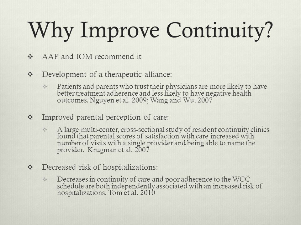 Why Improve Continuity .
