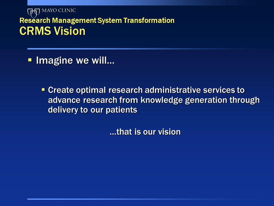 Research Management System Transformation CRMS Vision Imagine we will… Imagine we will… Create optimal research administrative services to advance res