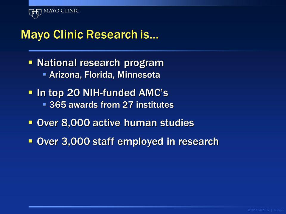 Over 90% of Mayo physicians are involved in research-related activities Over 90% of Mayo physicians are involved in research-related activities $600 million research budget $600 million research budget Mayo Clinic research partnerships Research: Overview Bedside BenchPopulation Translational research ©2011 MFMER | slide-8