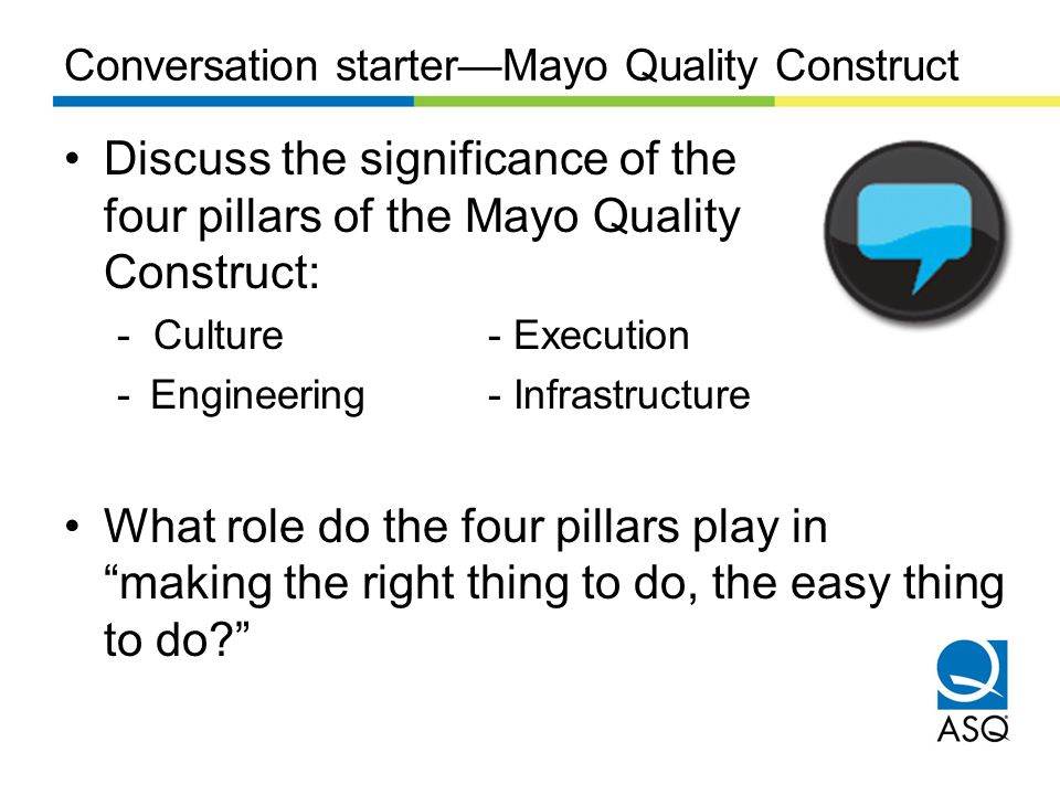 Conversation starterMayo Quality Construct Discuss the significance of the four pillars of the Mayo Quality Construct: - Culture- Execution -Engineeri