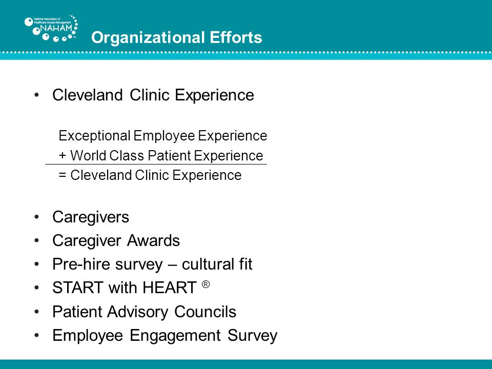Organizational Efforts Cleveland Clinic Experience Exceptional Employee Experience + World Class Patient Experience = Cleveland Clinic Experience Care