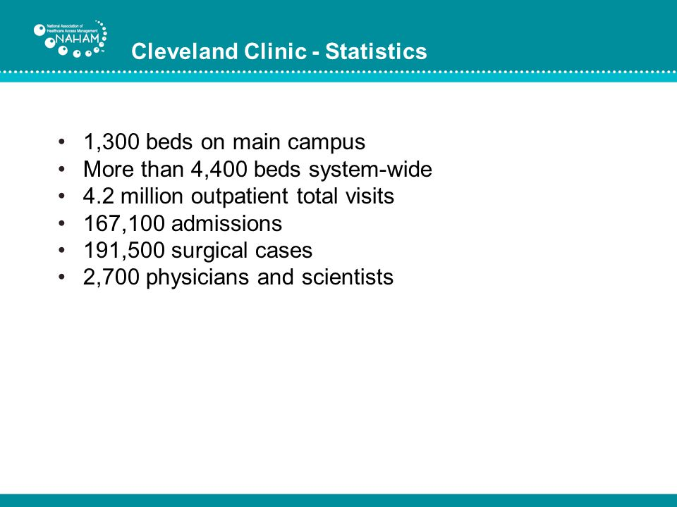 Cleveland Clinic - Statistics 1,300 beds on main campus More than 4,400 beds system-wide 4.2 million outpatient total visits 167,100 admissions 191,50
