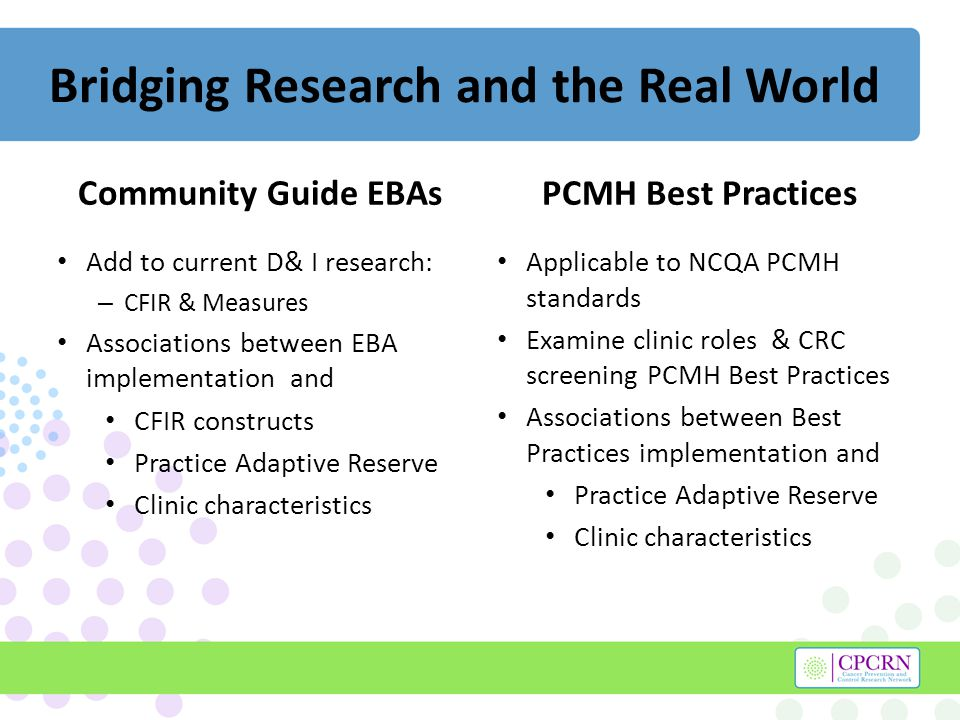Bridging Research and the Real World Community Guide EBAs Add to current D& I research: – CFIR & Measures Associations between EBA implementation and CFIR constructs Practice Adaptive Reserve Clinic characteristics PCMH Best Practices Applicable to NCQA PCMH standards Examine clinic roles & CRC screening PCMH Best Practices Associations between Best Practices implementation and Practice Adaptive Reserve Clinic characteristics