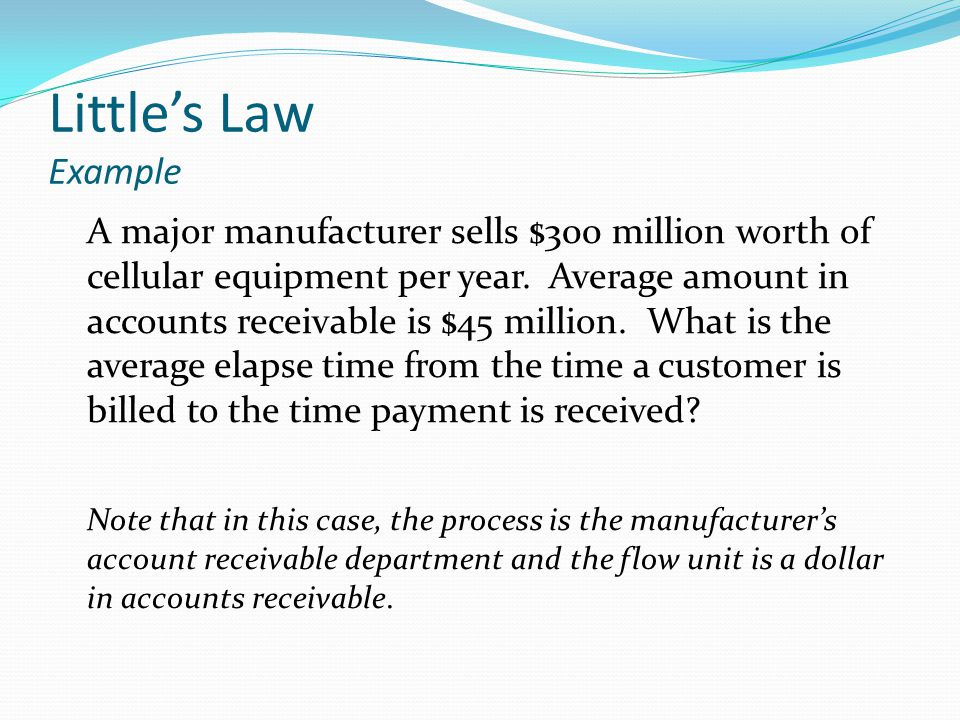 Littles Law Example A major manufacturer sells $300 million worth of cellular equipment per year.