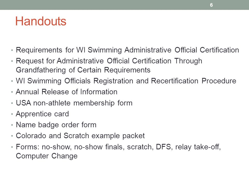 Athlete changed events Will usually happen during warm-ups Make sure Meet Description allows Process Computer Change form Update Admin Master Heat Sheet Update Hy-Tek If at all possible, update timer sheets 57