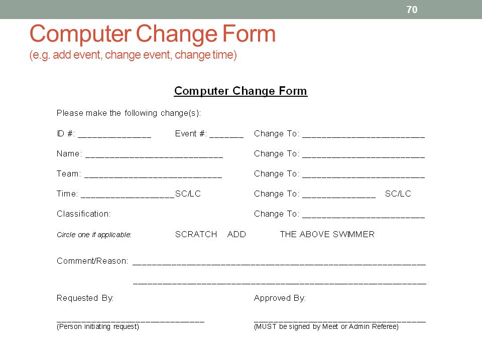 Computer Change Form (e.g. add event, change event, change time) 70