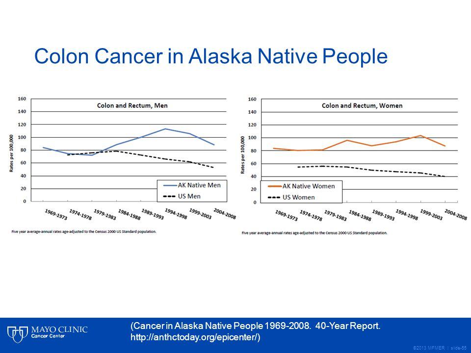 ©2013 MFMER | slide-55 Colon Cancer in Alaska Native People (Cancer in Alaska Native People 1969-2008.