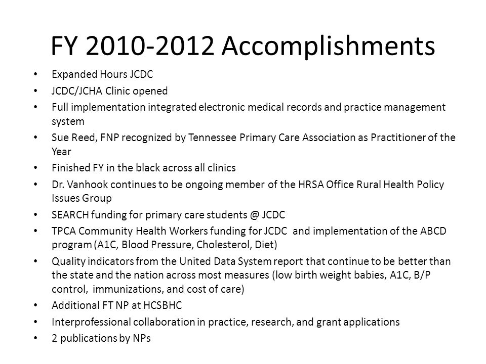 FY 2010-2012 Accomplishments Expanded Hours JCDC JCDC/JCHA Clinic opened Full implementation integrated electronic medical records and practice management system Sue Reed, FNP recognized by Tennessee Primary Care Association as Practitioner of the Year Finished FY in the black across all clinics Dr.