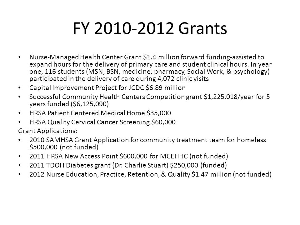 FY 2010-2012 Grants Nurse-Managed Health Center Grant $1.4 million forward funding-assisted to expand hours for the delivery of primary care and student clinical hours.