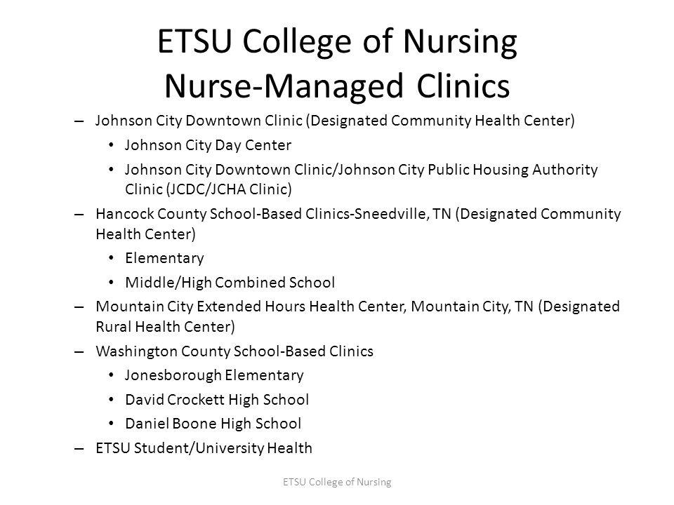 ETSU College of Nursing Nurse-Managed Clinics – Johnson City Downtown Clinic (Designated Community Health Center) Johnson City Day Center Johnson City