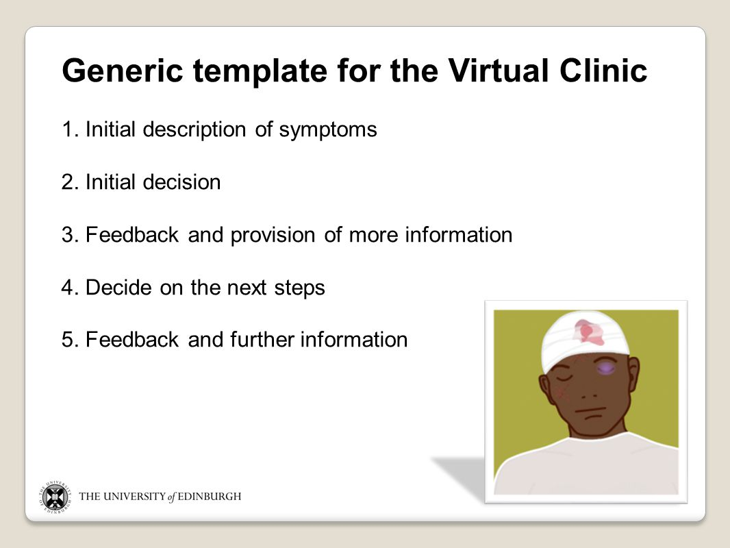 Generic template for the Virtual Clinic 1. Initial description of symptoms 2.