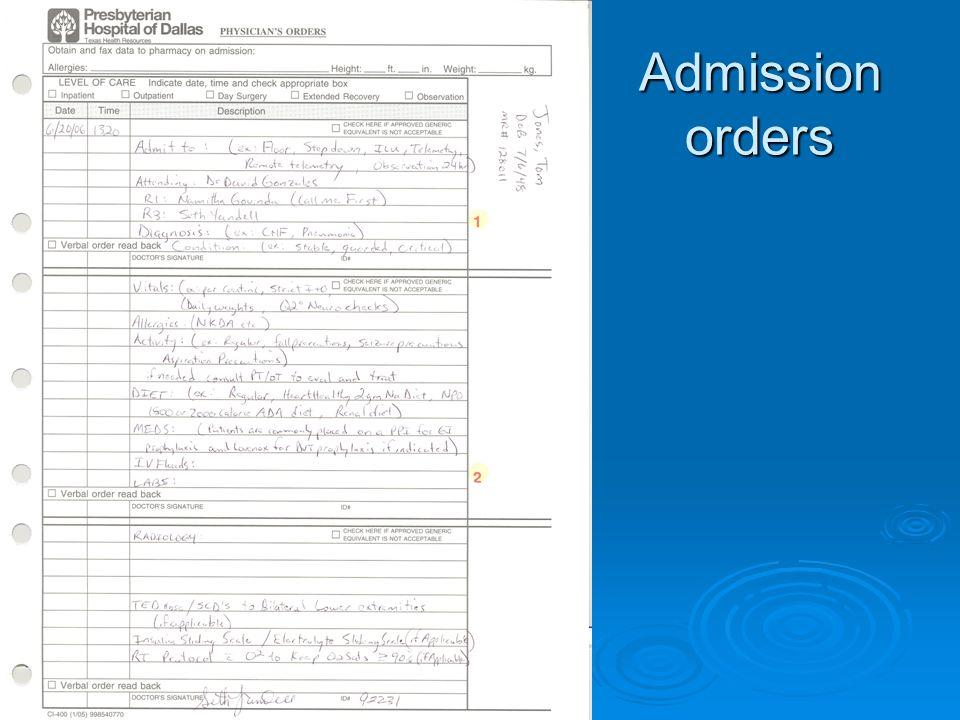 Admission orders Insert sample Insert sample