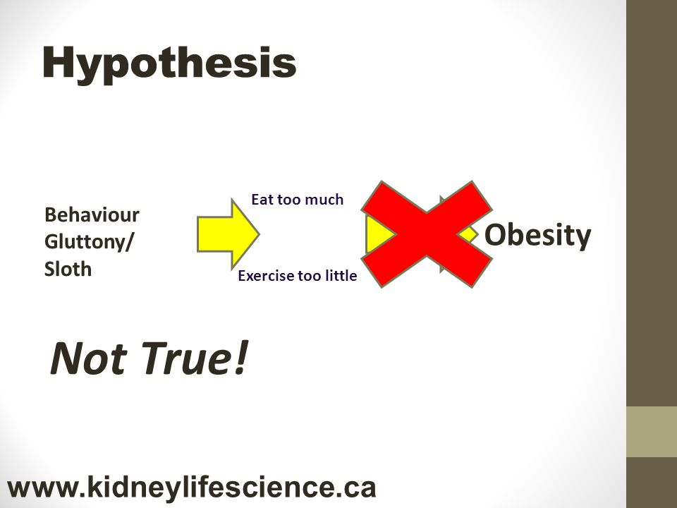 Hypothesis Not True! Behaviour Gluttony/ Sloth Obesity Eat too much Exercise too little www.kidneylifescience.ca